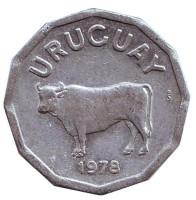 Бык. Монета 5 сентесимо. 1978 год, Уругвай.