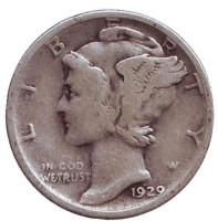 Меркурий. Монета 10 центов. 1929 год, США. Монетный двор S.
