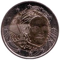 Симона Вейль. Монета 2 евро. 2018 год, Франция.
