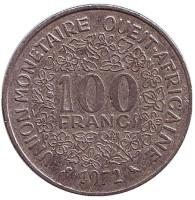 Монета 100 франков. 1972 год, Западные Африканские Штаты.