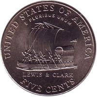 Корабль экспедиции Льюиса и Кларка. Монета 5 центов (D), 2004 год, США.