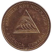 Горы-вулканы. Монета 25 сентаво. 2014 год, Никарагуа.