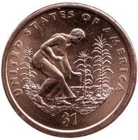 """Сакагавея. Посадка культур. (Три сестры), серия """"Коренные американцы"""". Монета 1 доллар, 2009 год (P), США."""