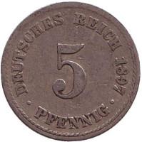 Монета 5 пфеннигов. 1897 год (A), Германская империя.
