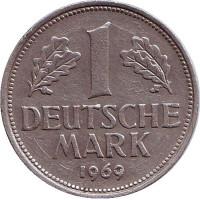 Монета 1 марка. 1969 год (D), ФРГ.