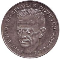 Курт Шумахер. Монета 2 марки. 1992 год (J), ФРГ. Из обращения.
