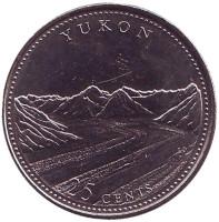 Юкон. 125 лет Конфедерации Канады. Монета 25 центов. 1992 год, Канада.