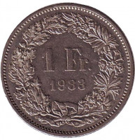 Гельвеция. Монета 1 франк. 1983 год, Швейцария.