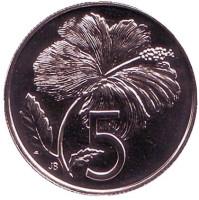 "Гибискус. Монета 5 центов. 1975 год, Острова Кука. (Отметка монетного двора: ""FM"")."