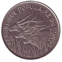 Африканские антилопы. (Западные канны). Монета 100 франков. 1975 год, Конго.