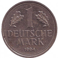 Монета 1 марка. 1994 год (A), ФРГ. Из обращения.
