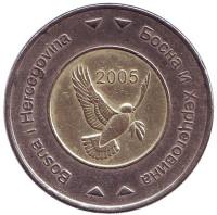 Голубь. Монета 5 конвертируемых марок. 2005 год, Босния и Герцеговина.