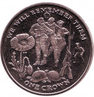 100 лет Первой Мировой войне. Футбол. Монета 1 крона. 2014 год, Остров Мэн.