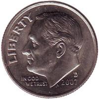 Рузвельт. Монета 10 центов. 2007 (D) год, США.