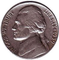Джефферсон. Монтичелло. Монета 5 центов. 1959 год, США.