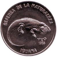 Игуана. Природный заповедник. Монета 1 песо. 1985 год, Куба.