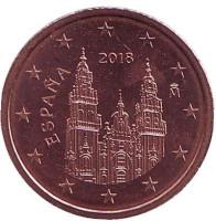 Монета 2 цента. 2018 год, Испания.