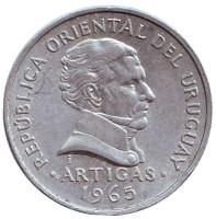 Хосе Артигас. Монета 50 сентесимо. 1965 год, Уругвай. Из обращения.