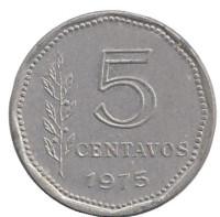 Монета 5 сентаво. 1975 год, Аргентина.