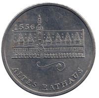 Старая ратуша. Лейпциг. Сувенирный жетон. (Медаль). 1975 год, Германия.