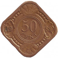 Монета 50 центов. 1989 год, Нидерландские Антильские острова.