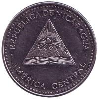 Горы-вулканы. Монета 1 кордоба. 2014 год, Никарагуа.