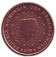 Монета 1 цент. 2005 год, Нидерланды.