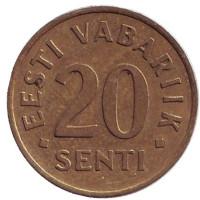 Монета 20 сентов. 1992 год, Эстония.