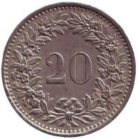 Монета 20 раппенов. 1969 год, Швейцария.