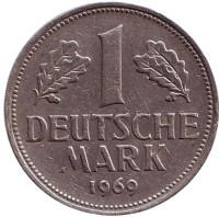 Монета 1 марка. 1969 год (F), ФРГ.