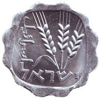 Ростки овса. Монета 1 агора. 1966 год, Израиль. UNC.