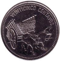 Повозка, запряженная быками. Монета 25 центаво, 1990 год, Доминиканская Республика. UNC.