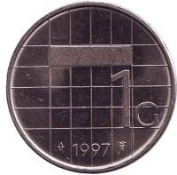 Монета 1 гульден. 1997 год, Нидерланды.