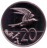 """Австралийская крачка. Монета 20 центов. 1975 год, Острова Кука. (Отметка монетного двора: """"FM"""")."""