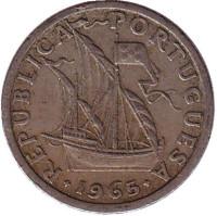 Монета 2,5 эскудо. 1965 год, Португалия.