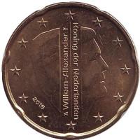 Монета 20 евроцентов. 2016 год, Нидерланды.