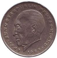 Конрад Аденауэр. Монета 2 марки. 1969 год (J), ФРГ.