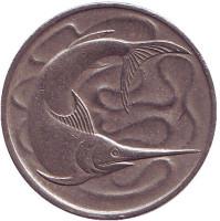 Рыба-меч. Монета 20 центов. 1967 год. Сингапур.