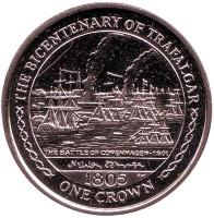 200 лет Трафальгарскому сражению. Битва при Копенгагене. Монета 1 крона. 2005 год, Остров Мэн.