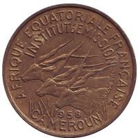 Африканские антилопы. (Западные канны). Монета 25 франков. 1958 год, Камерун. XF.