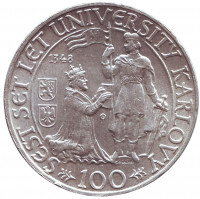 600 лет Карлову университету. Монета 100 крон. 1948 год, Чехословакия.