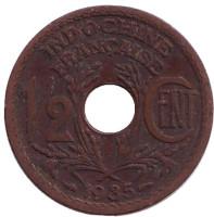 Монета 1/2 цента. 1935 год, Французский Индокитай.