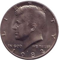 Джон Кеннеди. Монета 50 центов. 1982 год (P), США. UNC.