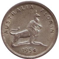 Королевский визит в Австралию. Монета 2 шиллинга (флорин). 1954 год, Австралия.