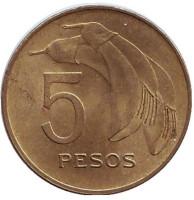 Цветок. Монета 5 песо. 1968 год, Уругвай.