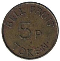 """Игровой жетон """"5p / TOKEN. Bell Fruit"""". (Токен), Великобритания. (Толстая """"5"""")"""