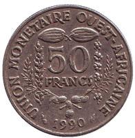 Монета 50 франков. 1990 год, Западные Африканские штаты.
