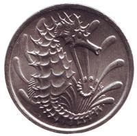 Морской конек. Монета 10 центов. 1984 год, Сингапур. aUNC.