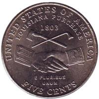 Покупка Луизианы. Монета 5 центов (P), 2004 год, США.