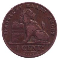 Монета 1 сантим. 1907 год, Бельгия. (Der Belgen)